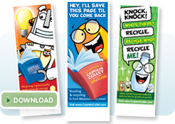 Recycle with Captain Cullet bookmarks