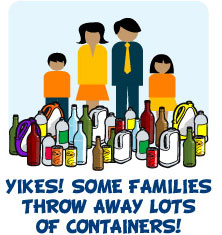 some families throw away lots of containers